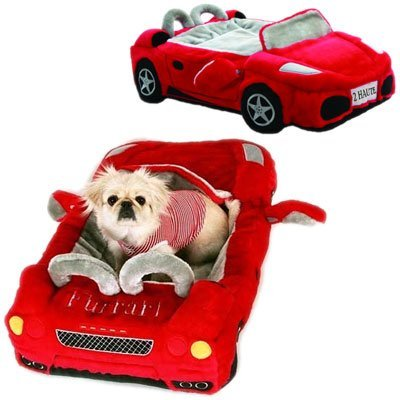 Super fun themed dog beds. this bed looks like a plush sports car