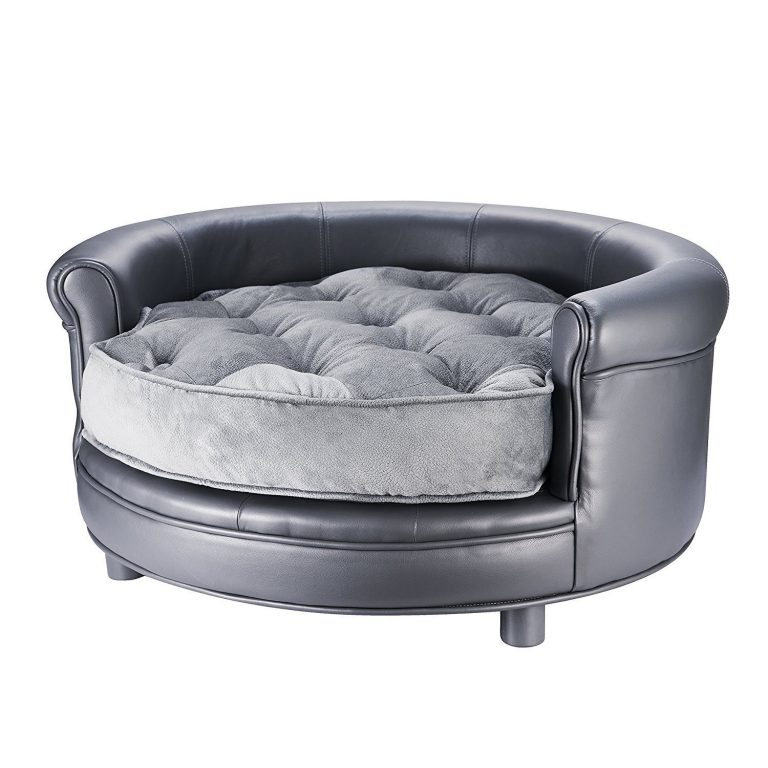 Check out best beds for pets with style this chesterfield round pet bed sleek leather look microfiber cushion
