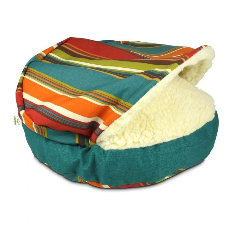Find the best pet beds for cold regions, like this brightly colored orange, blue, red, white, and green bed with faux wool lining