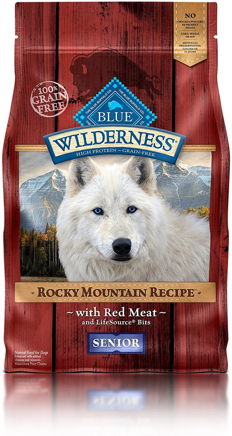 A bag of Blue WIlderness grain-free pet food.