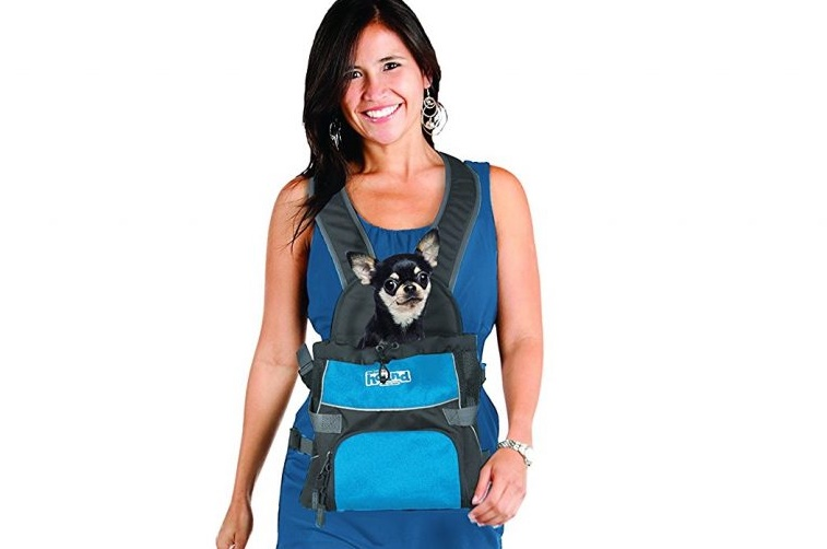 This dog carrier lets you carry your pet like a baby.