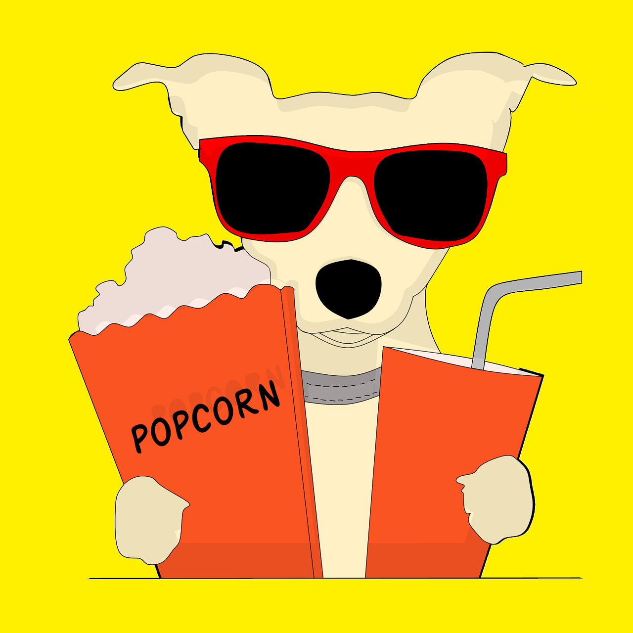 digital drawing of a small dog wearing sunglasses and holding a cup on his left paw and a popcorn on his right paw