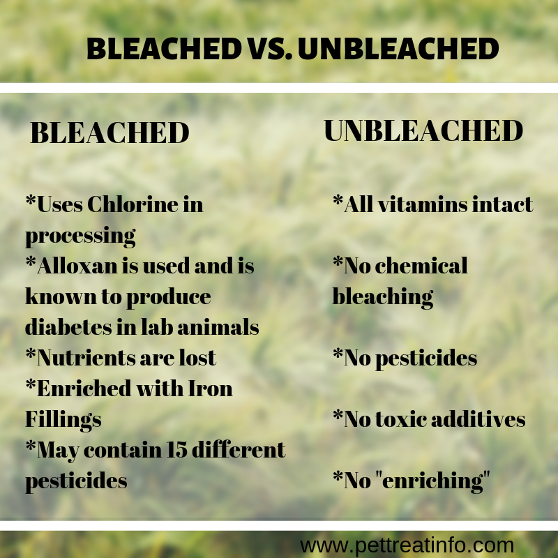 infographics showing the difference between bleached and unbleached white flour