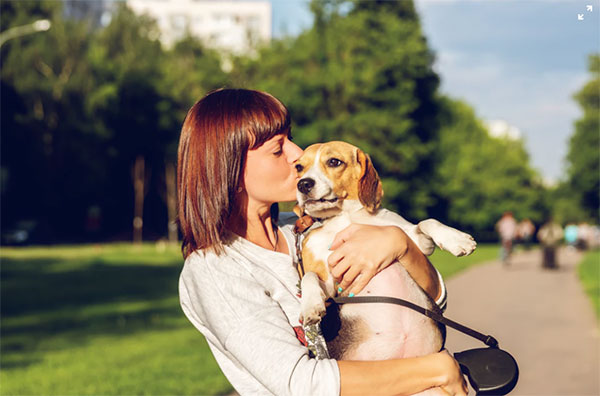 Woman kissing brown dog